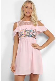 Vestido Angel City Bordado Open Shoulder - Feminino-Rosa