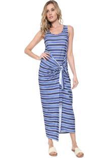Vestido Agua De Coco Por Liana Thomaz Longo Chromata Azul-Marinho
