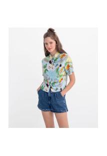 Camisa Manga Curta Estampa Folhagens E Frutas | Blue Steel | Azul | G