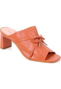 Tamanco Couro Shoestock Laço Salto Alto