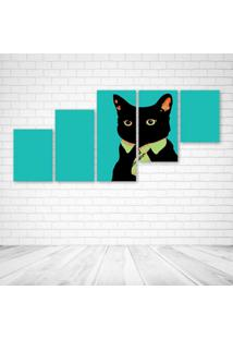 Quadro Decorativo - Minimalistic Business Cat - Composto De 5 Quadros - Multicolorido - Dafiti