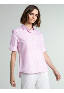 Camisa Social Feminina Rosa Listrada
