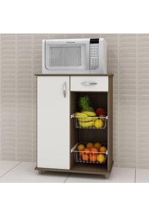 Armário De Cozinha Para Forno Com Fruteira 1 Porta 1 Gaveta Belize Chocolate/Branco New - Notavel