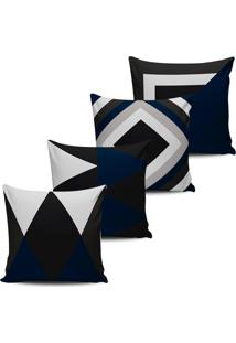 Kit 4 Capas Almofadas Abstrata Geometrica Azul E Preto 45X45