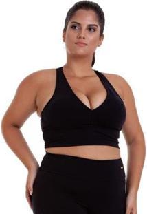 Top Plus Size Supplex Basico Best Fit - Feminino-Preto