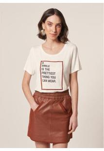 T-Shirt Mob Malha Smile Is The Prettiest Feminina - Feminino-Off White