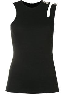 Balmain Blusa Canelada Com Recortes Vazados - Preto