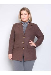 Casaco Palank Plus Size Alfaiataria Flanel Feminino - Feminino-Marrom