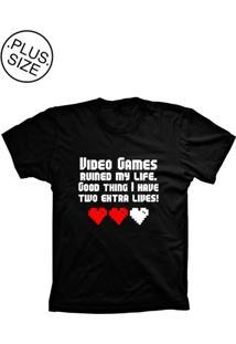 Camiseta Lu Geek Plus Size Games My Life Preto