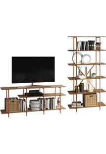 Rack Bancada Para Tv 55 Pol. E Estante Decorativa Estilo Industrial Tu