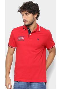 Camisa Polo U.S. Polo Assn Patch Masculina - Masculino-Vermelho