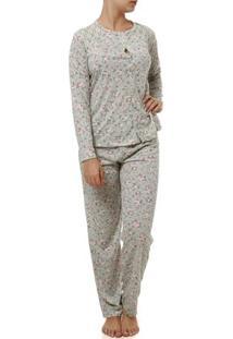 Pijama Longo Feminino Verde/Rosa