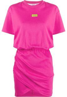 Gcds Vestido Reto Com Patch De Logo - Rosa