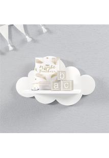 Prateleira Nuvem Branca Quarto Bebê Mdf P 30Cm Grão De Gente Branco