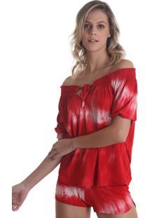 Blusa Ciganinha Tie Dye Vermelho Líquido