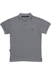 Camisa Polo Simple Skateboard Gola Dots Cinza