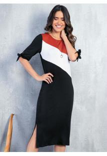 Vestido Tricolor Preto Com Recortes E Amarração