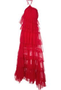 Alexis Vestido Longo Justina Com Tule E Babados - Vermelho