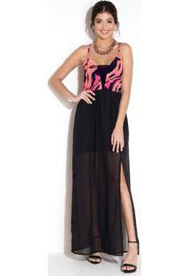 Vestido Com Decote V Em Tule E Fenda Cobra Color