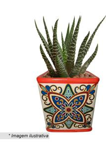 Cachepot Squared Floral Vintage- Vermelho & Cru- 11Xurban