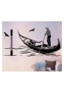 Adesivo De Parede Homem No Barco Em Veneza - P 48X98Cm