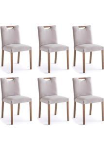 Conjunto Com 6 Cadeiras De Jantar Courve Cinza E Imbuia