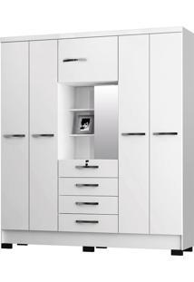 Guarda-Roupa Para Casal Cordoba Branco 5 Portas E 4 Gavetas E Espelho - Incorplac