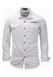 Camisa Masculina Casual Bolso Duplo Manga Longa - Branco