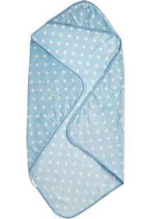 Cobertor Bebê Relevo Estampado Com Capuz Azul 0,80 X 0,90M