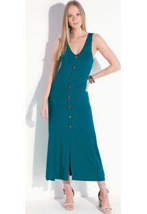 Vestido Azul Midi Sem Mangas Com Botões