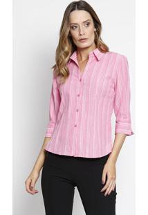 Camisa Texturizada- Rosa & Branca- Intensintens
