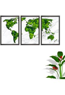 Quadro 60X120Cm Mapa Mundi Verde Folhas Moldura Sem Vidro Fundo Branco Altas Países Decorativo Interiores - Oppen House