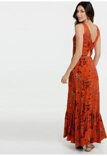 Vestido Feminino Longo Estampa Floral Alças Finas Marisa