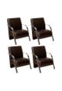 Conjunto De 4 Poltronas Sevilha Decorativa Braço Alumínio Cadeira Para Recepção, Sala Estar Tv Espera, Escritório - Corino Marrom