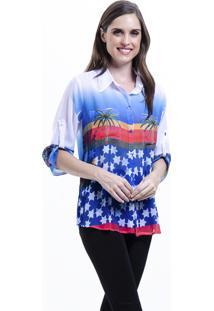 Camisa 101 Resort Wear Chifon Estampada Estrelas Azul