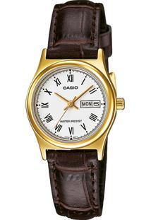 Relógio Casio Ltp-V006Gl-7Budf Dourado/Marrom
