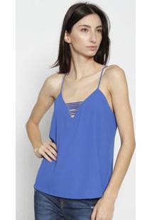 Blusa Com Tiras & Vazados - Azul Escurocalvin Klein
