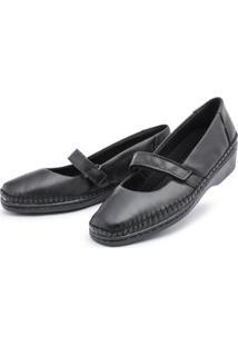 Sapato Conforto Couro Top Franca Shoes Feminino - Feminino-Preto
