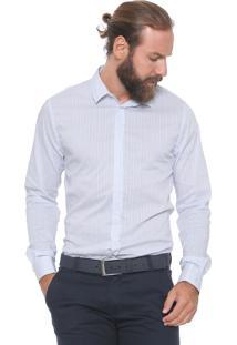 Camisa Forum Reta Listras Branca/Azul