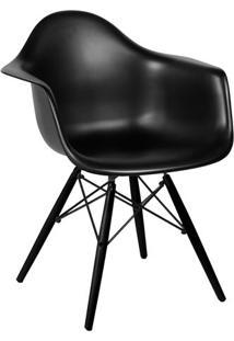 Poltrona Eames Dar- Preta & Madeira Preta- 82X62X44Cor Design