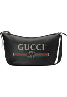 Gucci Bolsa Hobo De Couro Com Logo - Preto