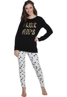 Pijama Longo Inspirate Cats Preto
