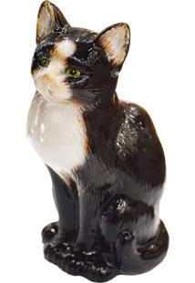 Enfeite Gato Preto Em Cerâmica Kasa Ideia