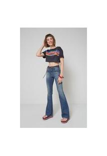 Calça Jeans Flare Frente Menor