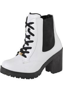 Bota Cano Curto Com Cadarço Sapatofranca Feshion Ankle Boot Branco - Kanui