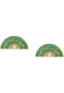 Andrea Fohrman Par De Brincos De Ouro Amarelo 18K Com Diamante E Esmeralda - Dourado