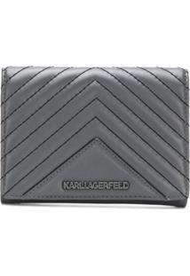 Karl Lagerfeld Carteira De Couro - Cinza