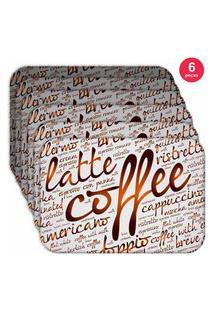 Jogo Americano Love Decor Wevans Latte Coffee Kit Com 6 Pçs