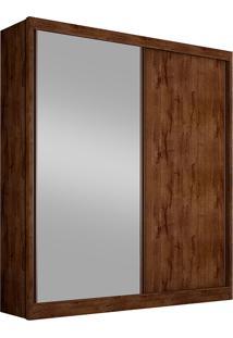 Guarda-Roupa Solteiro Com Espelho 2 Portas Virtus-Novo Horizonte - Canela