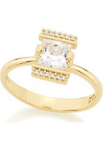Anel Rommanel Skinny Ring Composto Por Zircônias Feminino - Feminino-Dourado